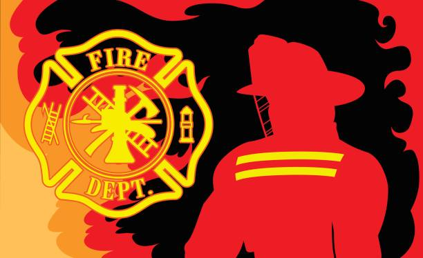 Fire Department With Fireman Fire Department With Fireman is an illustration of a silhouetted fireman or firefighter and a firefighter symbol surrounded by fire or flames. fire station stock illustrations