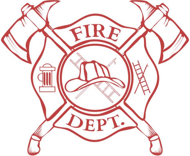 illustrations, cliparts, dessins animés et icônes de fire service. label. casque croisées et axes. illustration - pompier