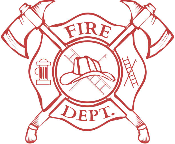 Fire Dept. Label. Helmet with Crossed Axes. Vector vector art illustration