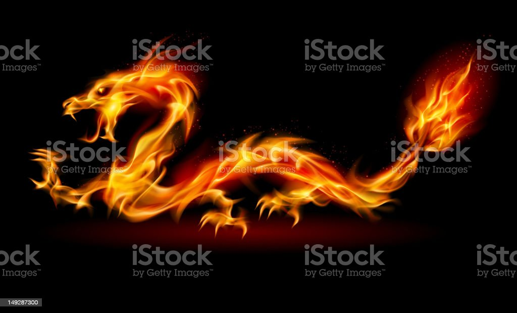 Fire Dragon royalty-free fire dragon stock vector art & more images of black background