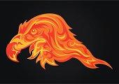 Flame  looks like head of eagle (phoenix)
