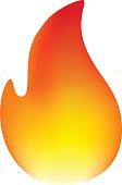 Fire Emoticon on White Background
