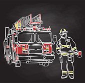 Vector sketch illustration of a fireman posing while holding an axe next to a fire engine.