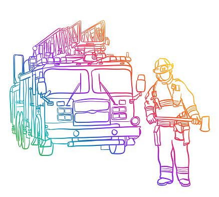 Fire Engine And Fireman Rainbow