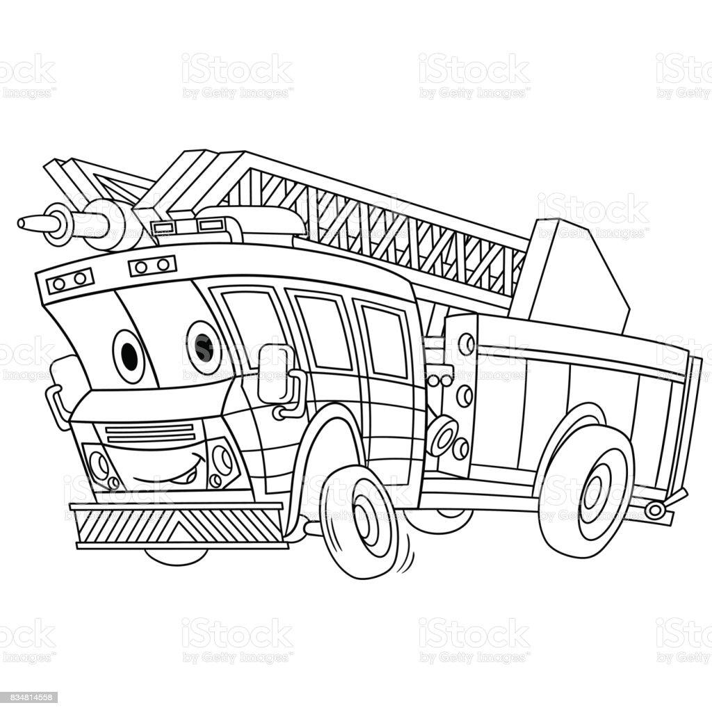 Itfaiye Arabası Boyama Stok Vektör Sanatı Acil Hizmet Aracınin