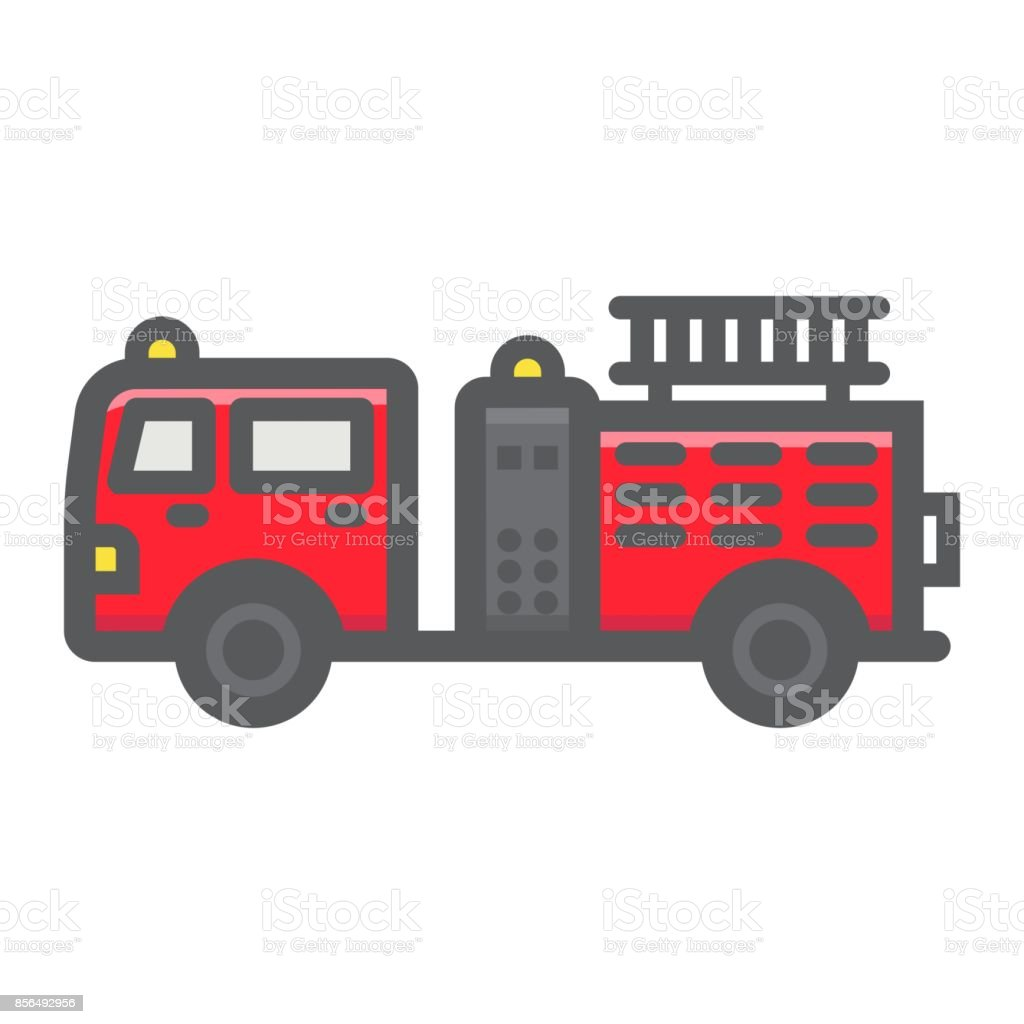fire engine filled outline icon transport and vehicle fire truck