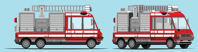 Fire engine, fire truck, with side view and 3/4 view