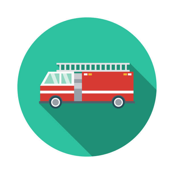 Fire Engine Flat Design Emergency Services Icon A flat design styled emergency services icon with a long side shadow. Color swatches are global so it's easy to edit and change the colors. fire engine stock illustrations
