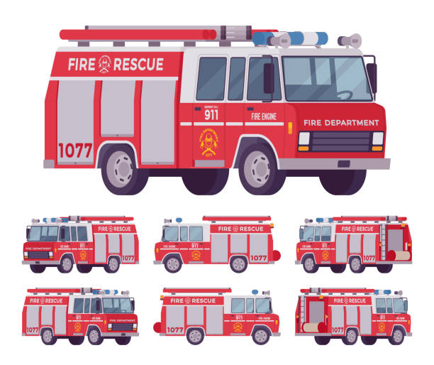 Fire engine set Fire engine set. Emergency service red vehicle with water tanker for firefighting operations, carries firefighters squad and equipment. Vector flat style cartoon illustration on white background fire engine stock illustrations