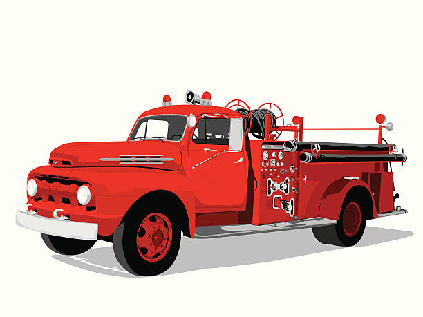 Fire engine See my vector illustrations serie by clicking on the image below: fire engine stock illustrations
