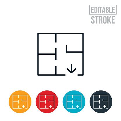 Fire Escape Route Thin Line Icon - Editable Stroke