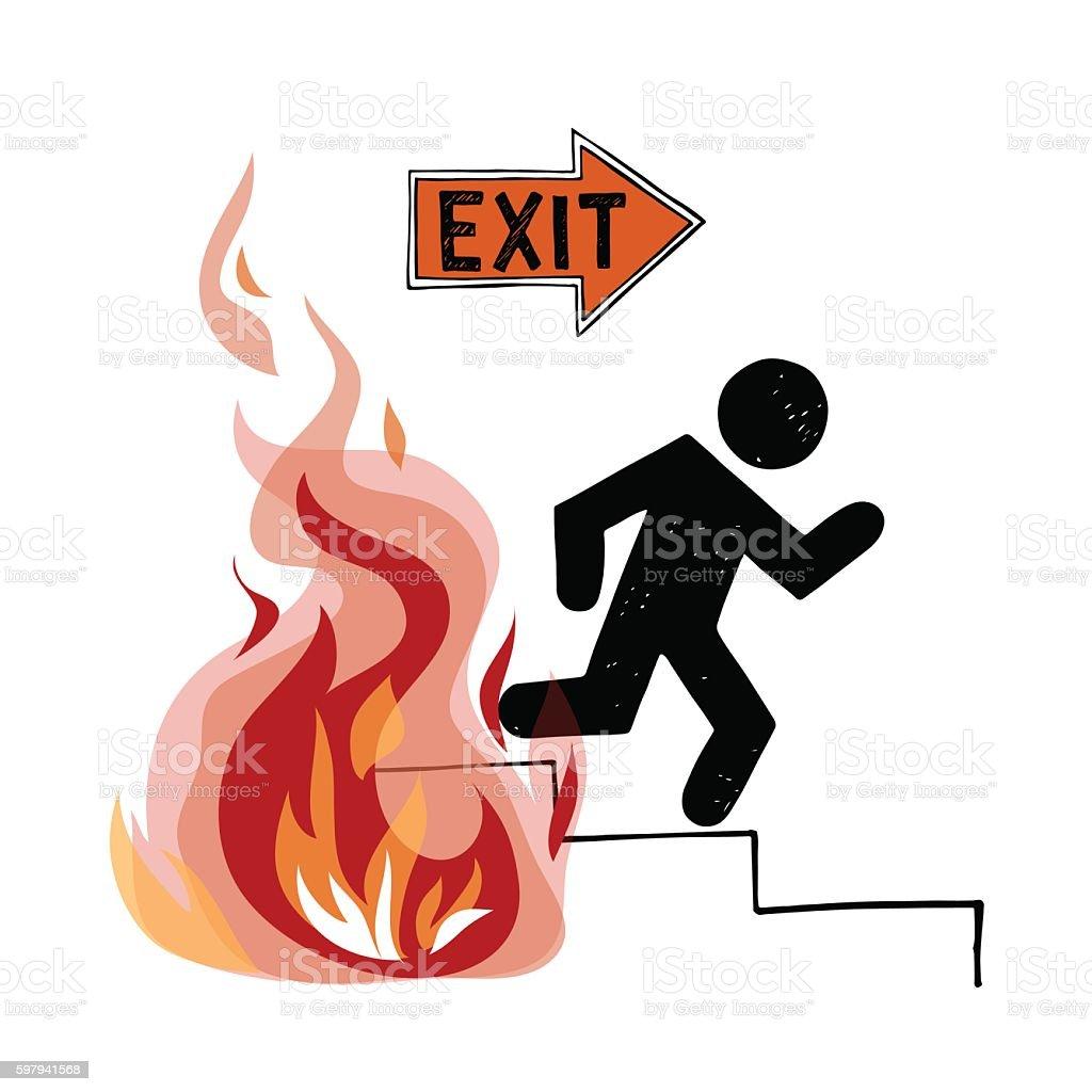 Fire evacuation vector sign vector art illustration
