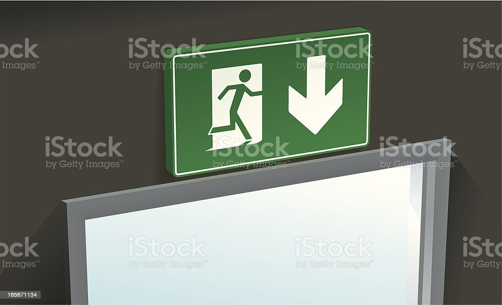 Fire exit above vector art illustration