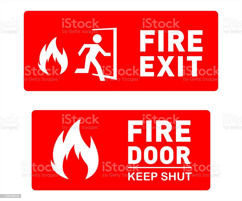 Two vector illustration signs showing Emergency Fire Exit and Fire...