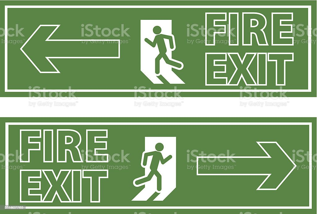 fire exit sign vector art illustration