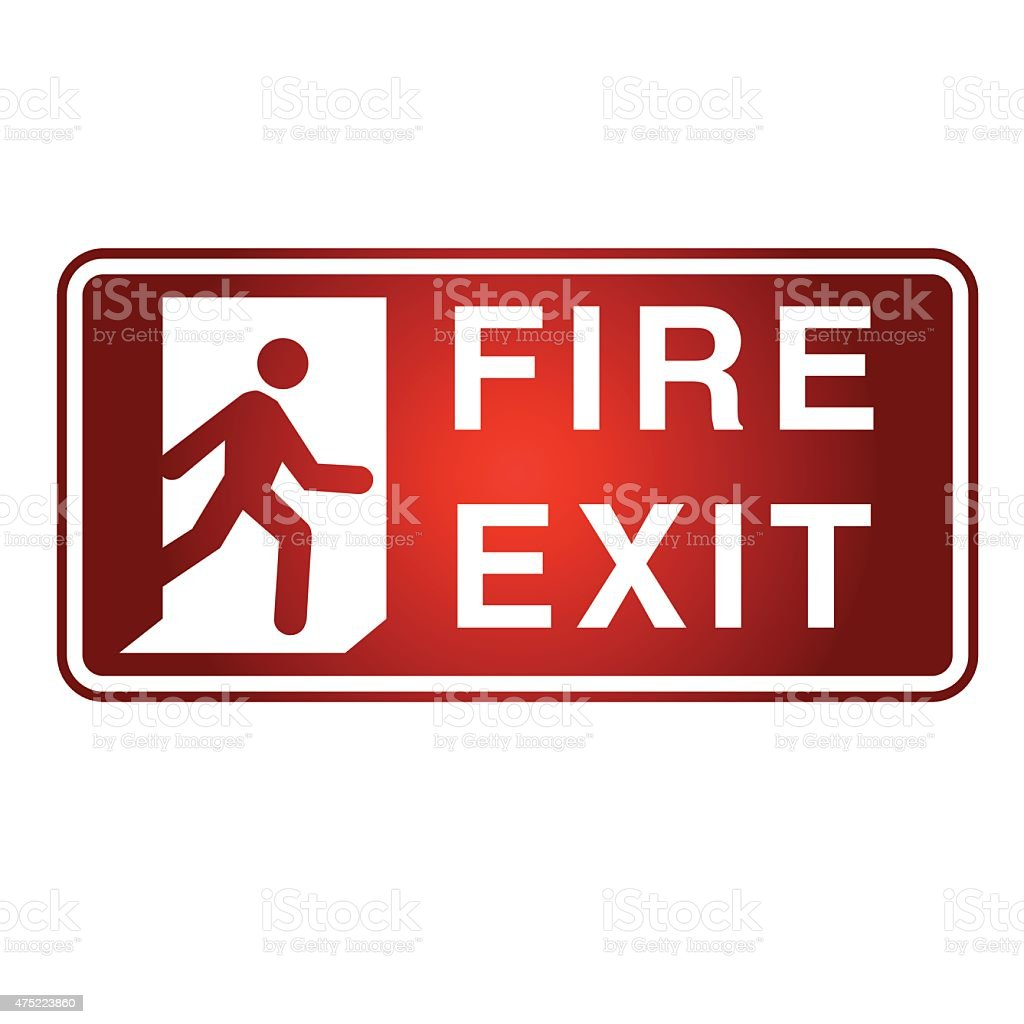 Fire Exit sign- Vector vector art illustration