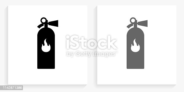 Fire Extinguisher Black and White Square Icon. This 100% royalty free vector illustration is featuring the square button with a drop shadow and the main icon is depicted in black and in grey for a roll-over effect.