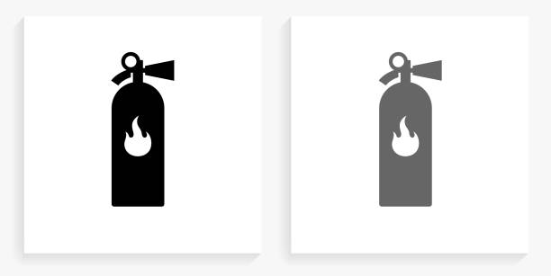 Fire Extinguisher Black and White Square Icon vector art illustration