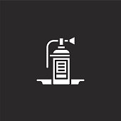 fire extinguisher icon. Filled fire extinguisher icon for website design and mobile, app development. fire extinguisher icon from filled gas station collection isolated on black background.