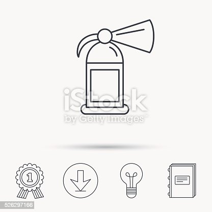 Fire Extinguisher Icon Flame Protection Sign Stock Vector Art