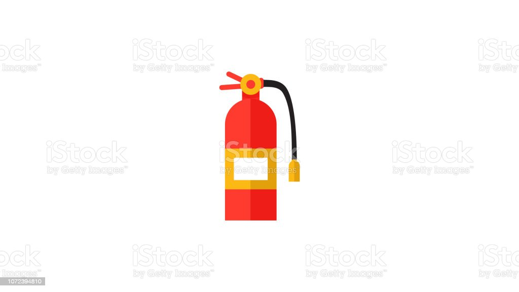 Fire extinguisher icon in flat style vector art illustration