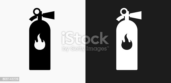 Fire Extinguisher Icon on Black and White Vector Backgrounds. This vector illustration includes two variations of the icon one in black on a light background on the left and another version in white on a dark background positioned on the right. The vector icon is simple yet elegant and can be used in a variety of ways including website or mobile application icon. This royalty free image is 100% vector based and all design elements can be scaled to any size.