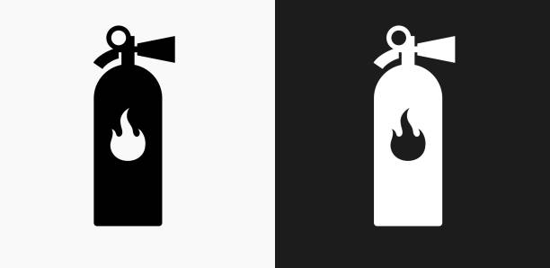 Fire Extinguisher Icon on Black and White Vector Backgrounds vector art illustration