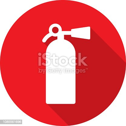 Vector illustration of a red fire extinguisher icon in flat style.