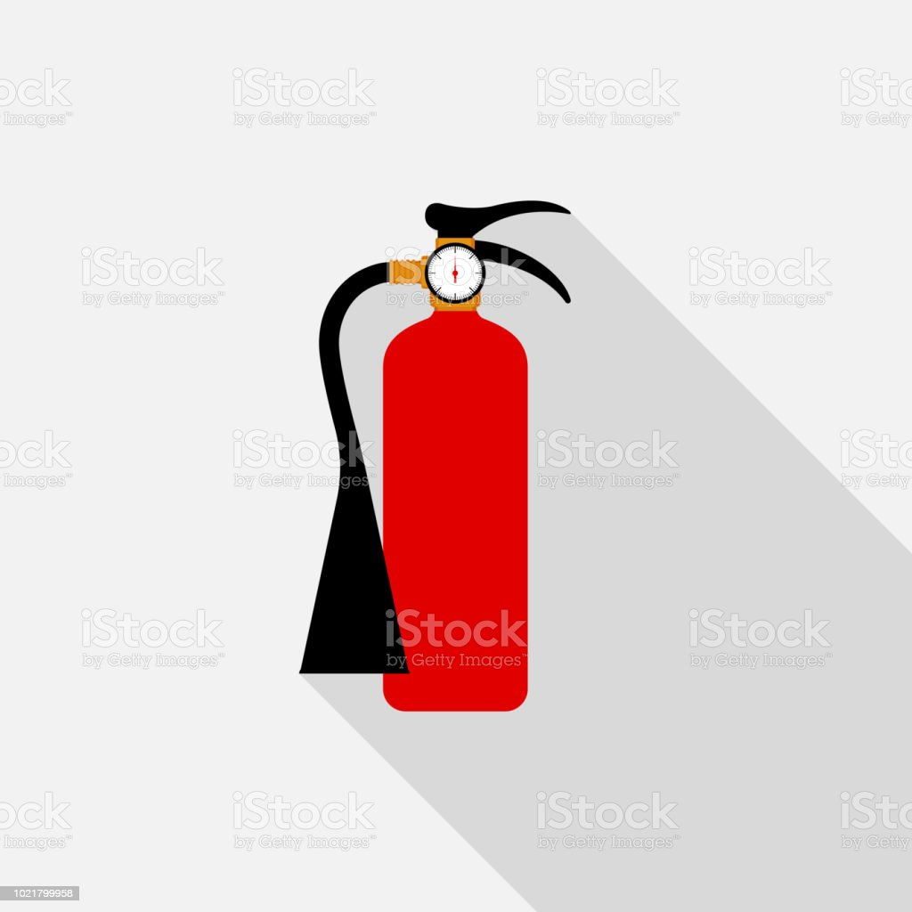 Fire extinguisher icon with long shadow on gray background, flat design style vector art illustration