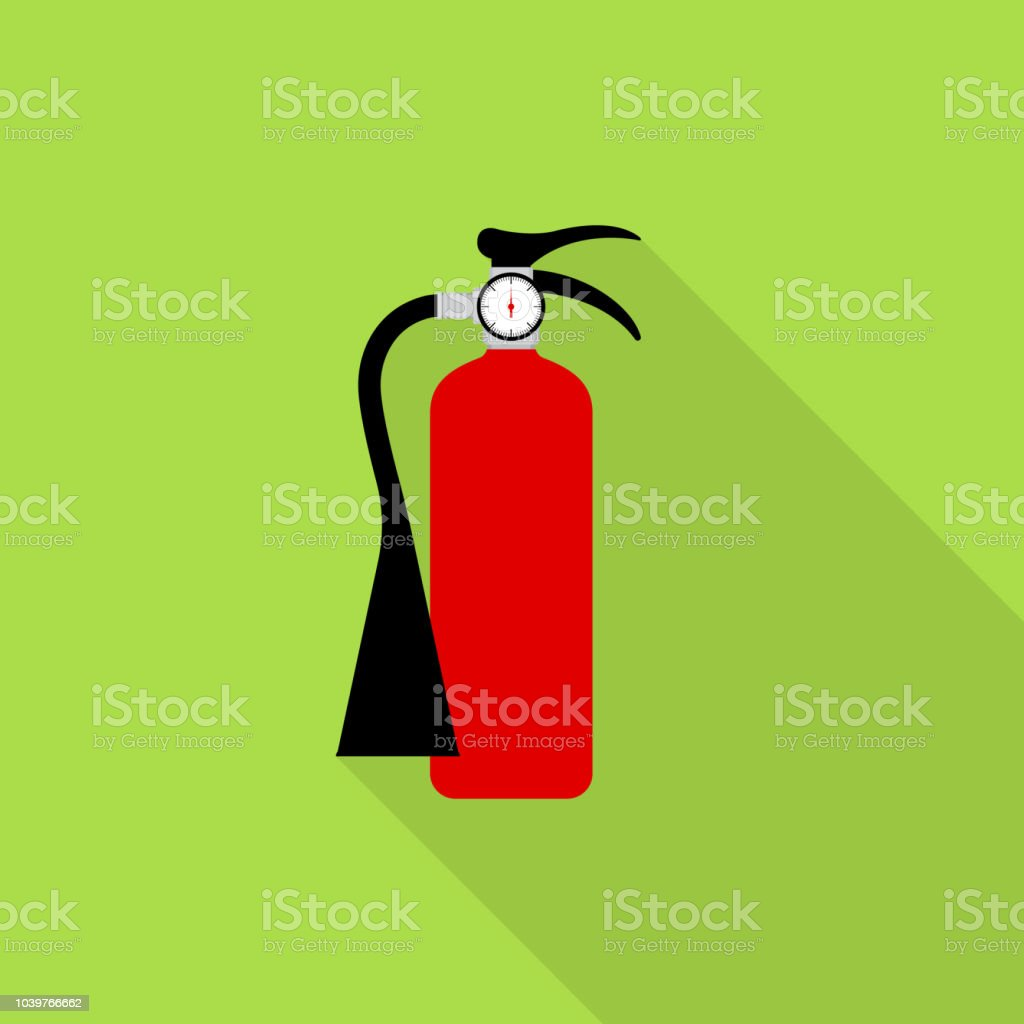 Fire extinguisher icon with long shadow on green background, flat design style vector art illustration