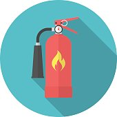Fire extinguisher icon with long shadow. Flat design style. Round icon. Extinguisher silhouette. Simple circle icon. Modern icon in stylish colors. Web site page and mobile app design vector element.