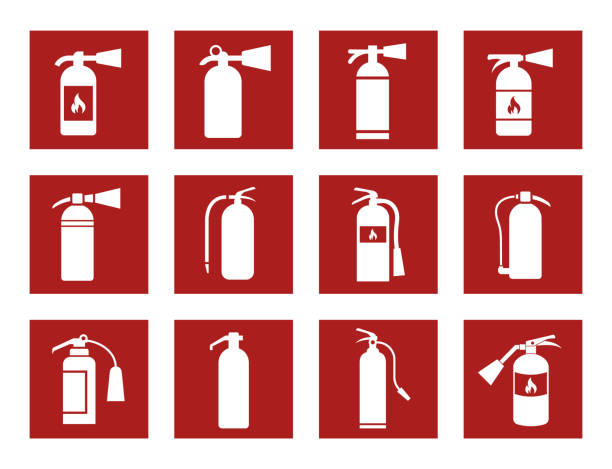 fire extinguisher icons fire extinguisher icons and signs, vector illustration emergency equipment stock illustrations