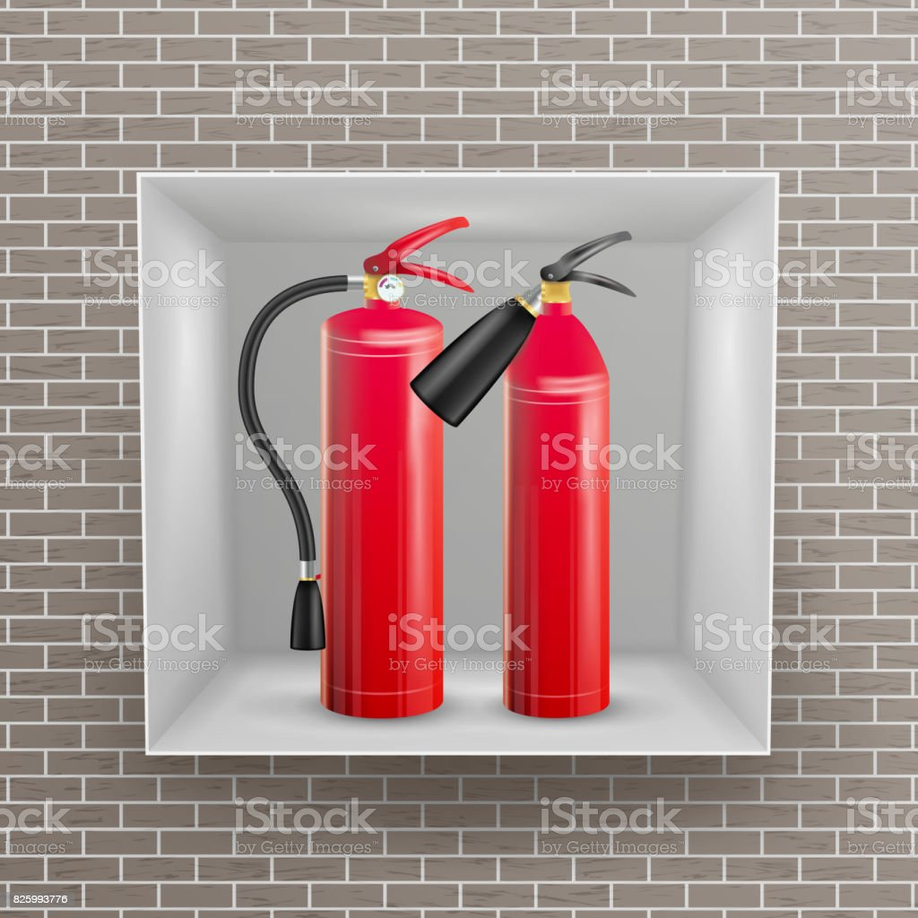 Fire Extinguisher In Brick Wall Niche Vector. Metal Glossiness 3D Realistic Red Fire Extinguisher Illustration vector art illustration