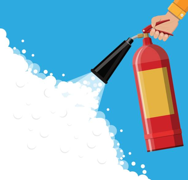 Fire extinguisher in hand with foam Fire extinguisher in hand with foam. Fire equipment. Vector illustration in flat style extinguishing stock illustrations