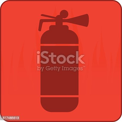 Fire Extinguisher Symbol On A Board With Flames Stock Vector Art