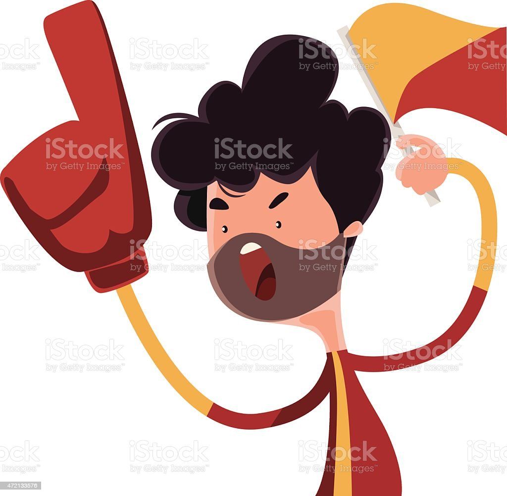 Fire fan cheering for his team vector illustration cartoon character vector art illustration