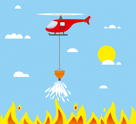 Fire fighter helicopter cartoon illustration