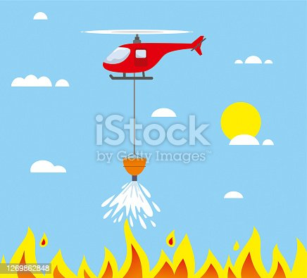 istock Fire fighter helicopter cartoon illustration 1269862848