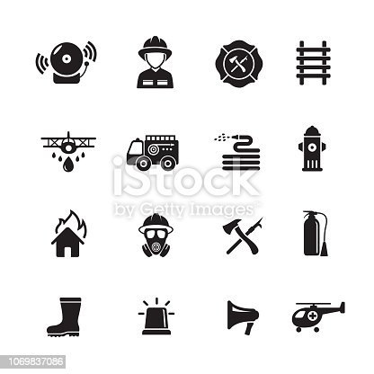 Fire fighter icon, set of 16 editable filled, Simple clearly defined shapes in one color.