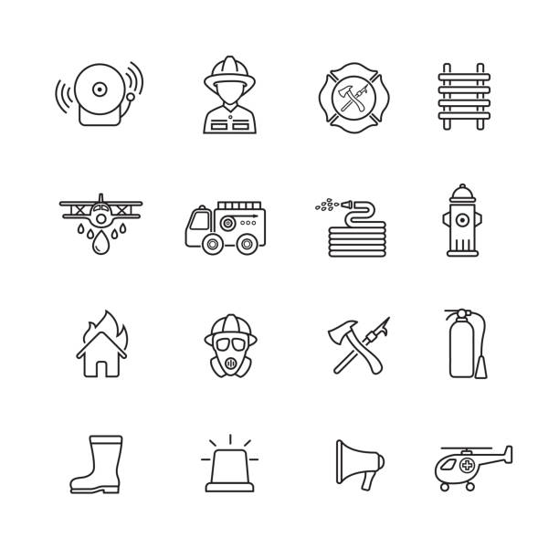 Fire fighter icons Fire fighter Thin line icons, set of 16 editable filled, Simple clearly defined shapes in one color. fire hose stock illustrations
