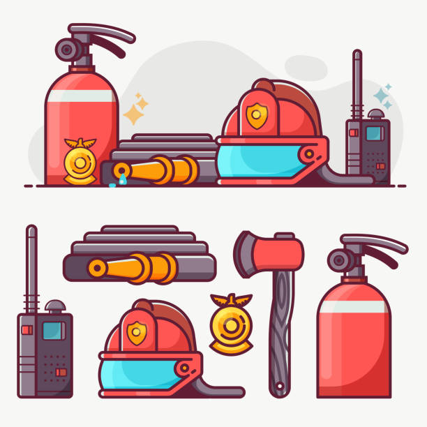Fire Fighting Department Line Art Icon Set vector art illustration