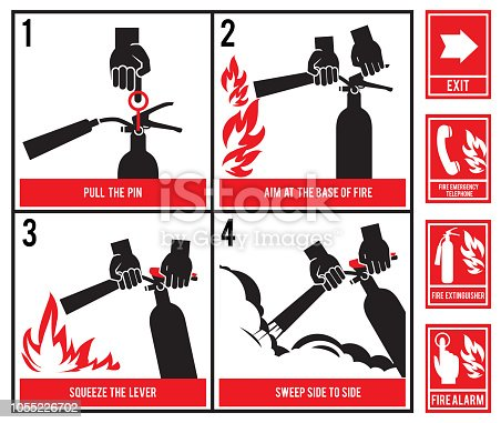 Fire fighting technical illustration. Vector silhouette of fire extinguisher. Instruction fire equipment, extinguisher and protection