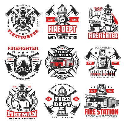 Fire, firefighter department icons, fireman helmet