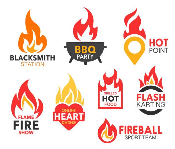 ilustrações, clipart, desenhos animados e ícones de flama e chama do incêndio, coração flamejante e ponto do mapa - ícones de festas e estações