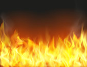 Fire flame background. Realistic vector illustration