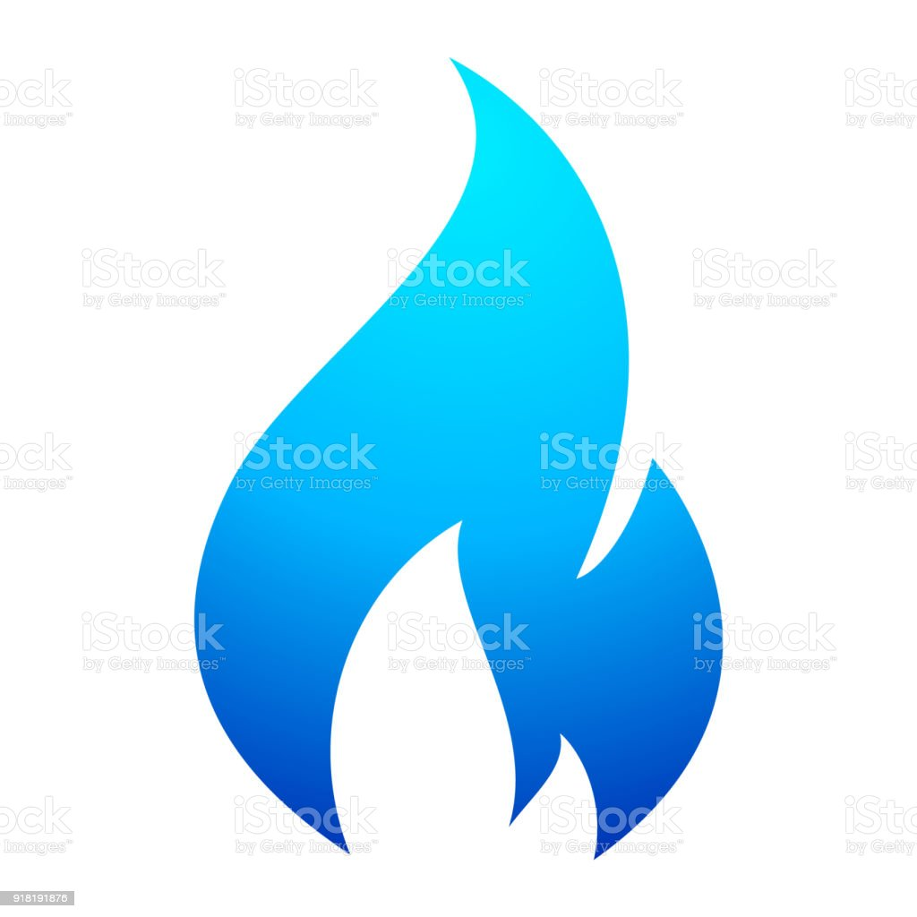 Fire flame blue icon vector art illustration