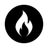 Fire flame circle icon. Black, round, minimalist icon isolated on white background. Fire flame simple silhouette. Web site page and mobile app design vector element.
