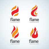 Fire Flame emblems design vector template drop silhouette set