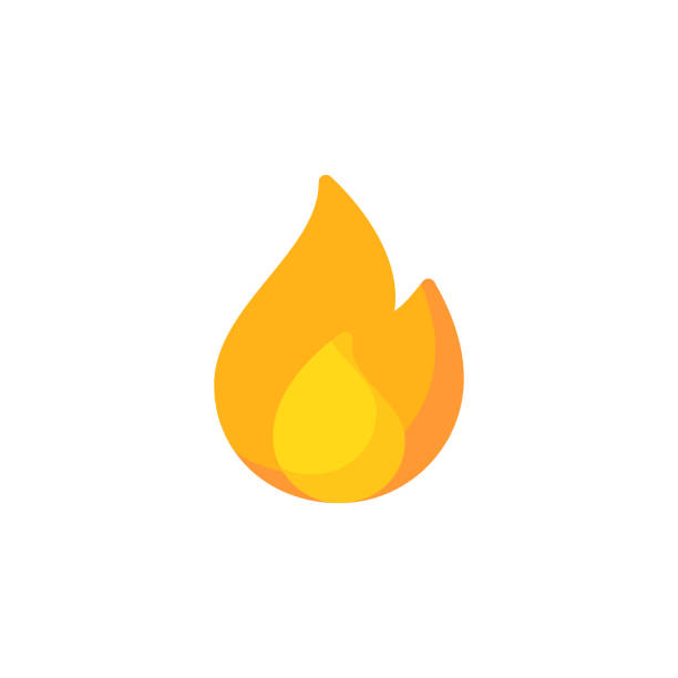Fire, Flame Flat Icon. Pixel Perfect. For Mobile and Web. Fire, Flame Flat Icon. cooking clipart stock illustrations