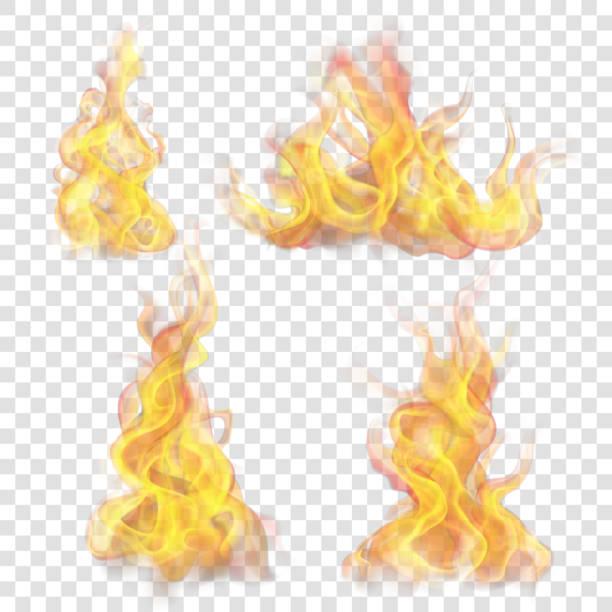 bildbanksillustrationer, clip art samt tecknat material och ikoner med elden flamma för ljus bakgrund - flames